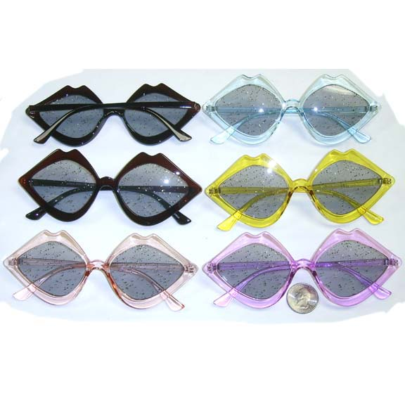 ASSORTED COLOR GLITTER LENS RETRO/FUNKY LIPS LOOKING FRAMES